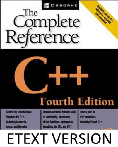 C++: The Complete Reference Etext