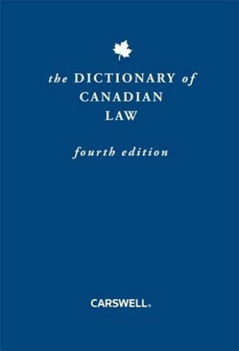 9780779823260 Dictionary Of Canadian Law