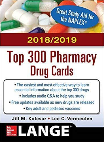 9781260108842 2018/2019 Top 300 Pharmacy Drug Cards