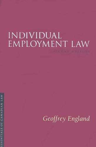 9781552211557 Individual Employment Law: Essentials Of Canadian Law