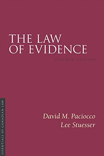9781552213865 Law Of Evidence:  Essentials Of Canadian Law