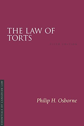 9781552214008 Law Of Torts: Essentials Of Canadian Law